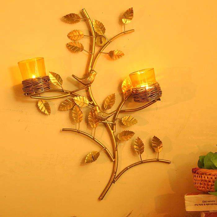 Golden Tree with Bird Nest Yellow Votive Stand