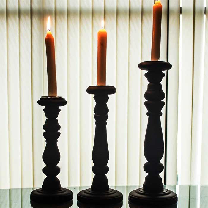 Wood candle Stand Black Matt (Set of 3)