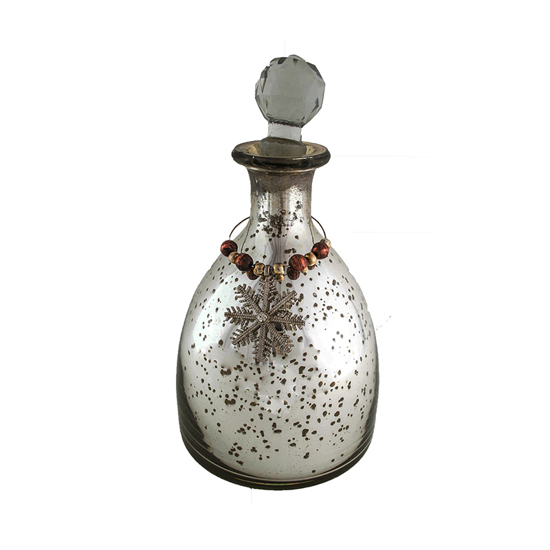 Antique Flat Bottom Silver Coated Glass Bottle
