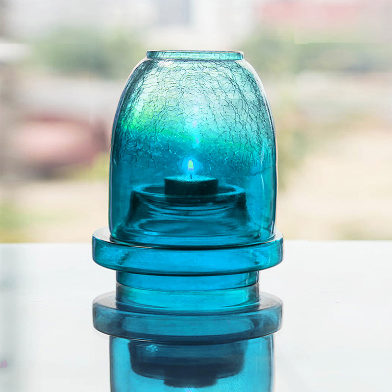 Half Crackle Shimmering Light Box Turquoise