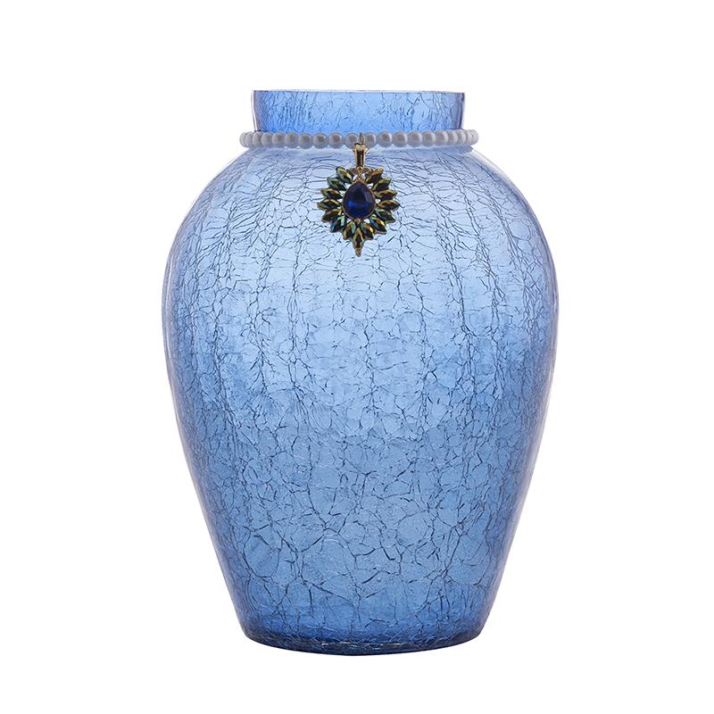 Crackle Flower Pot With Brooch Neck Blue