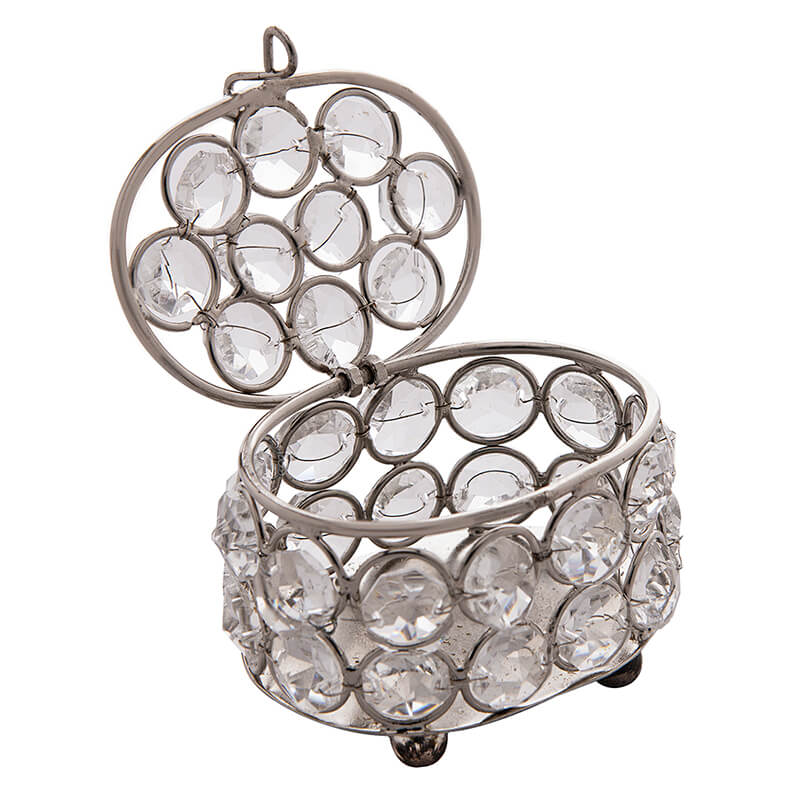 Oval Crystal Silver Jewellery Box