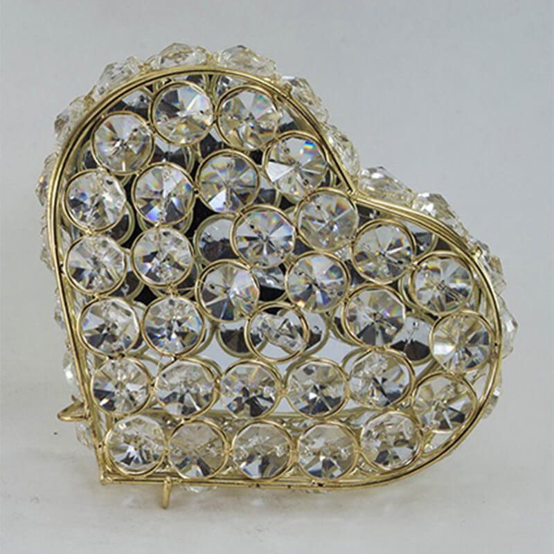 Heart Shaped Crystal Jewelry Box Gold