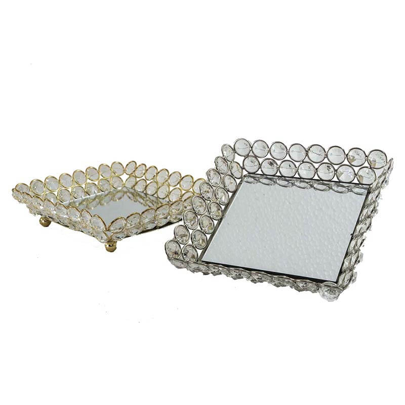 Square Crystal Tray-Medium Gold