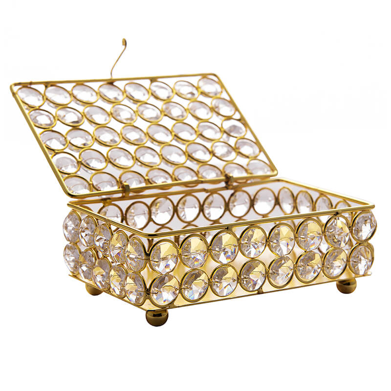 Rectangle Large Crystal Jewellery Box Gold