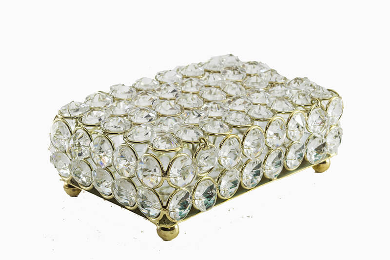 Rectangle Large Crystal Jewelry Box Gold