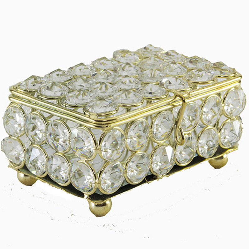 Rectangle Small Crystal Jewelry Box Gold