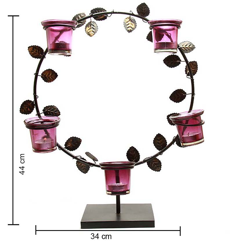 Black Round Stand with Votive,Table Candle Holder with Tea Light, Pink
