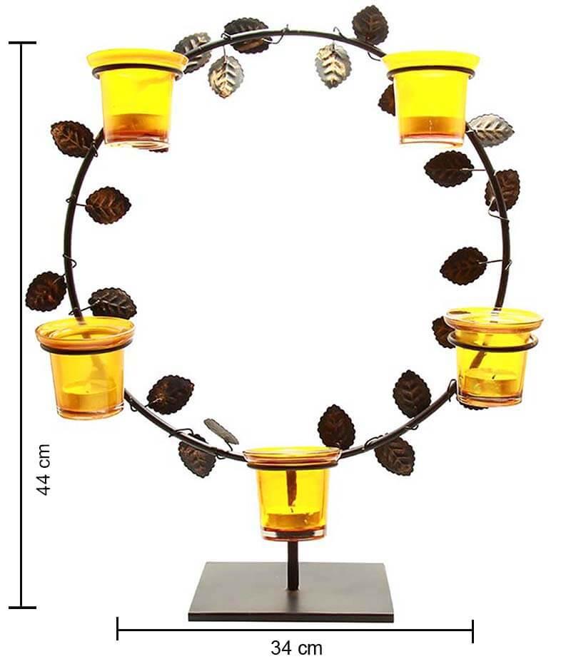 Black Round Stand with Votive (Set of 5 Votive) Yellow