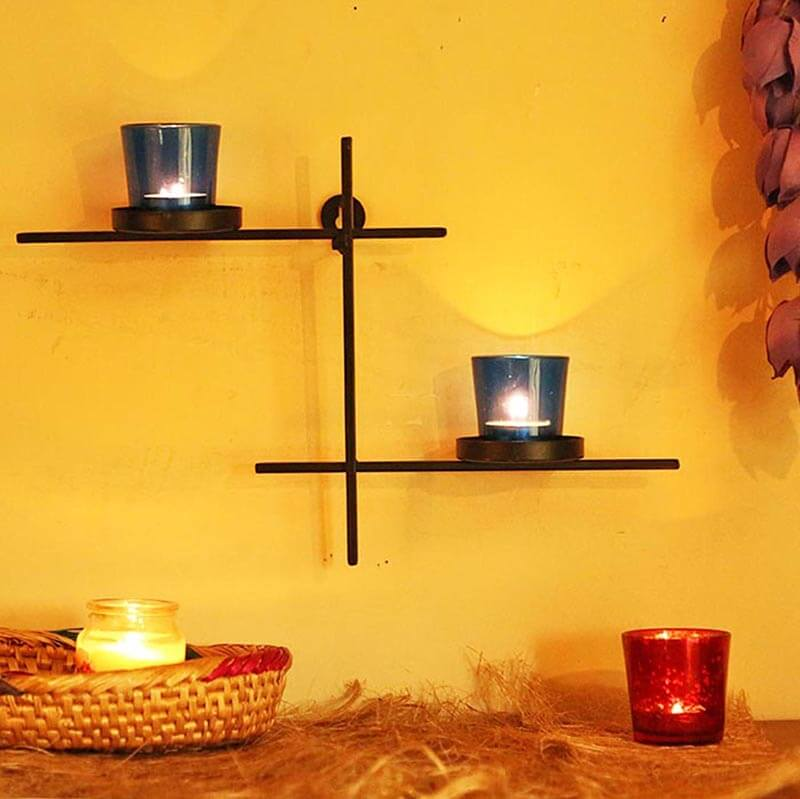 Black Scorching Ladder with Pair of Votive Blue