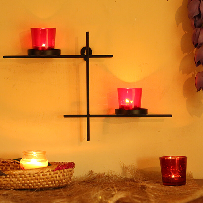Black Scorching Ladder with Pair of Votive Pink