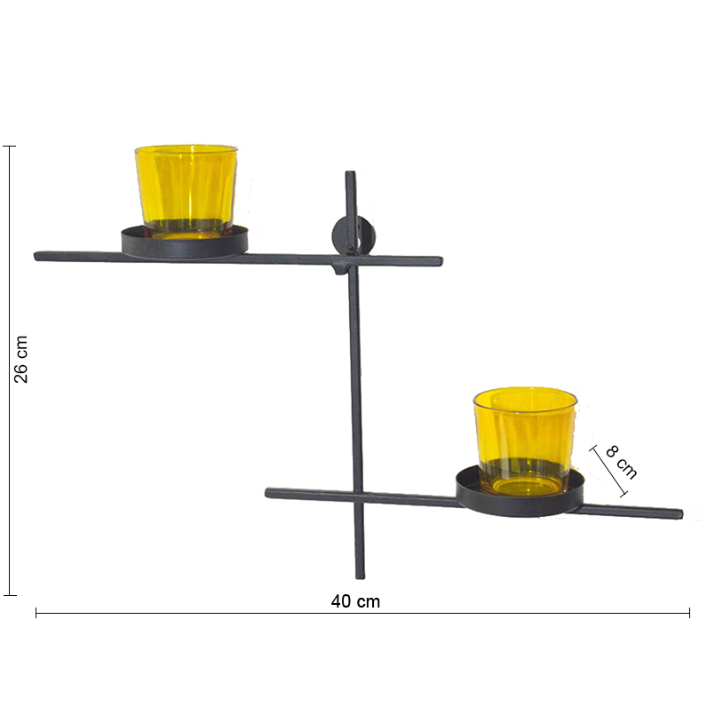 Black Scorching Ladder with Pair of Votive Yellow