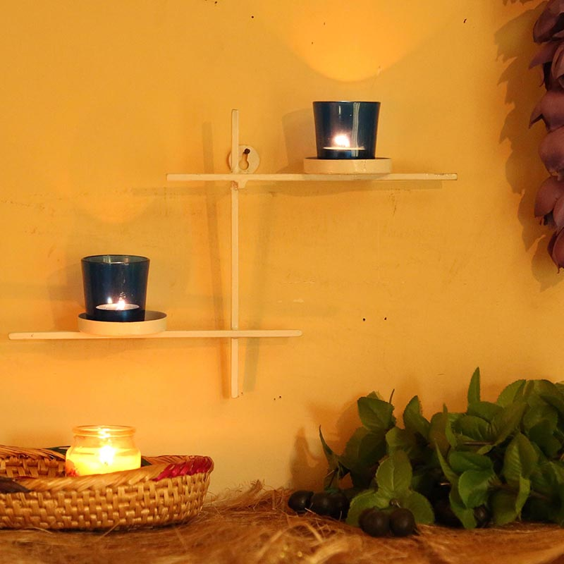 White Scorching Ladder with Pair of Votive Blue