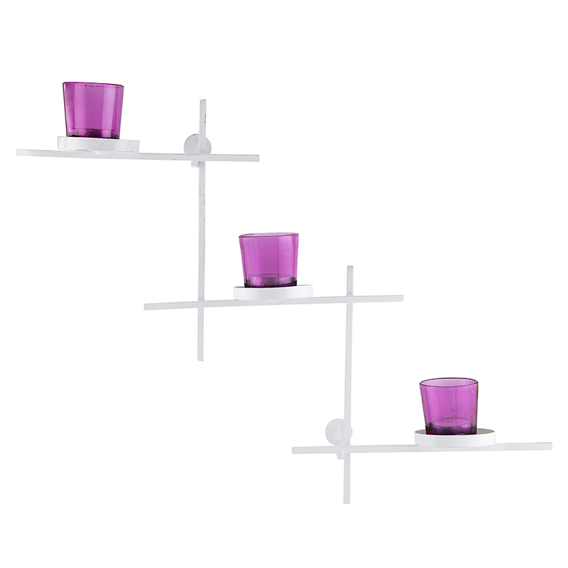 White Scorching Ladder with Three Votive Pink, Wall Hanging Candle Holder