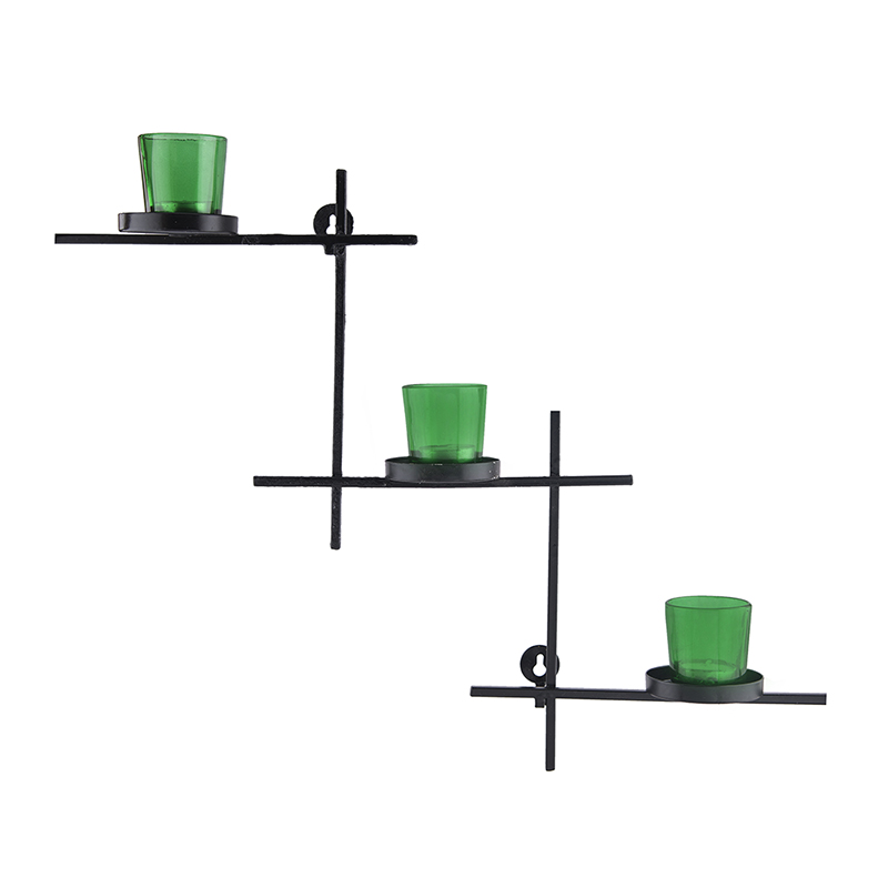 Black Scorching Ladder with Three Votive Green, Wall Hanging Candle Holder