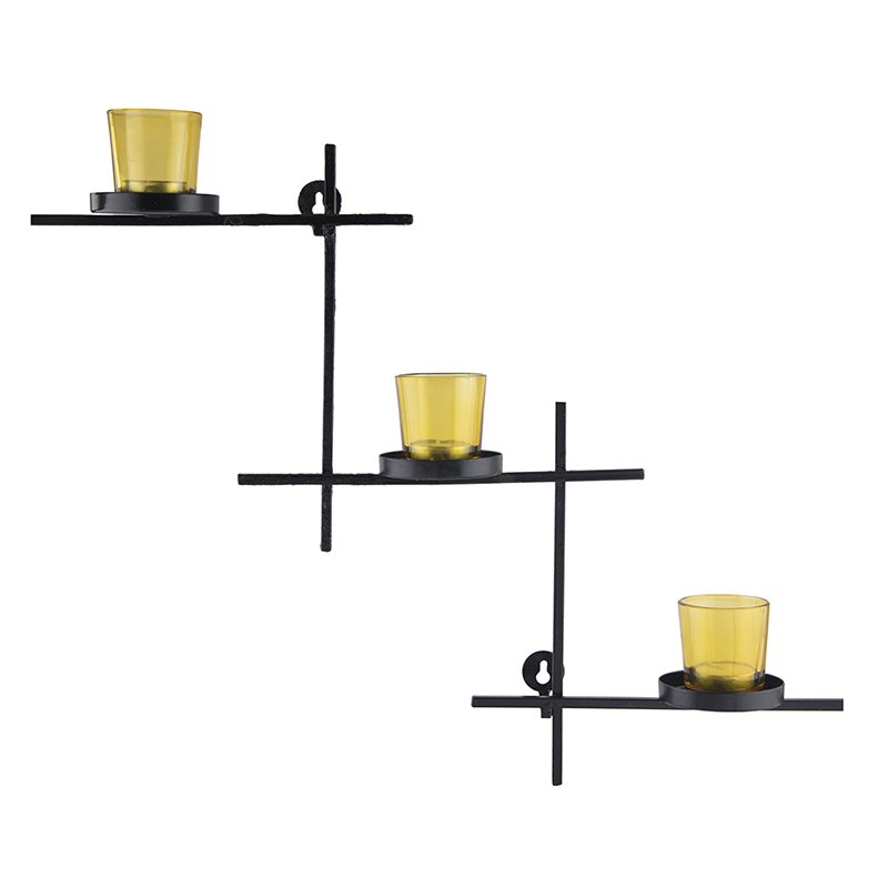Black Scorching Ladder with Three Votive Yellow, Wall Hanging Candle Holder
