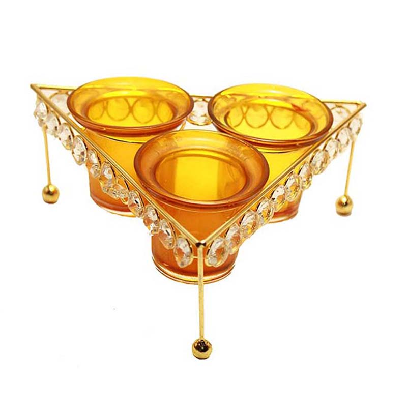 Crystal Tri Votive Stand (with 3 Votive) Yellow, Candle Holder with Bonus Tealight Candles