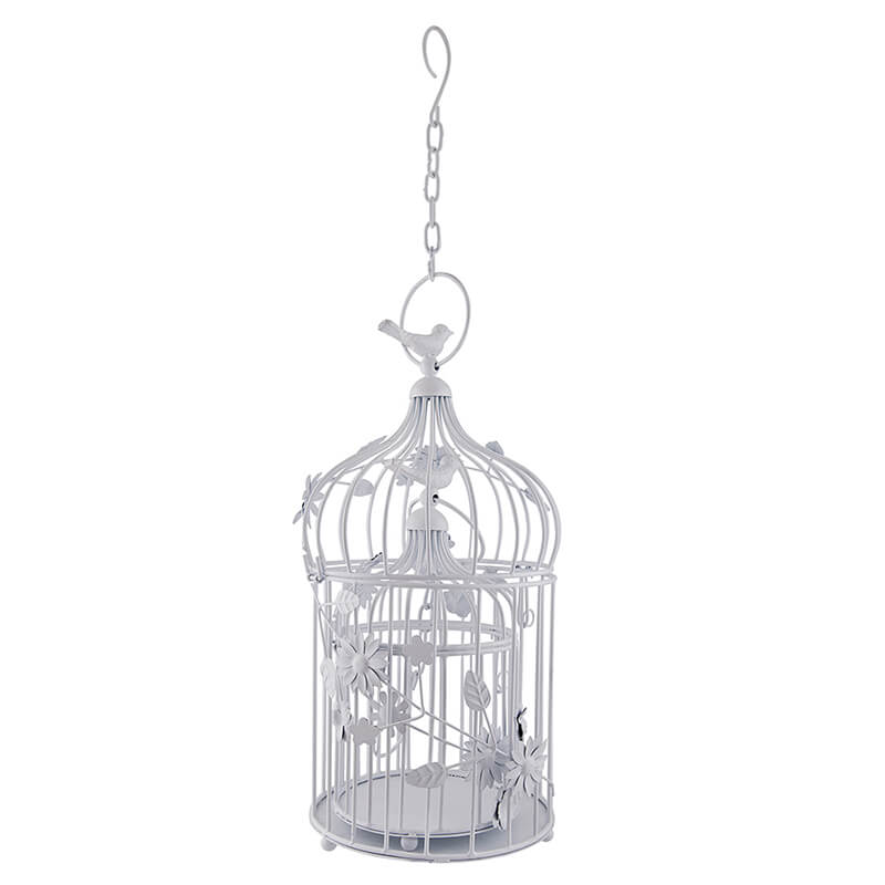 White Bird Cage with Floral Vine (Set of 2), with Hanging Chain