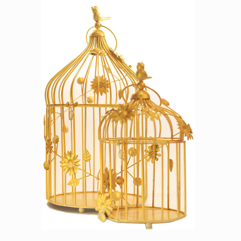 Golden Bird Cage with floral vine (Set of 2), with Hanging Chain
