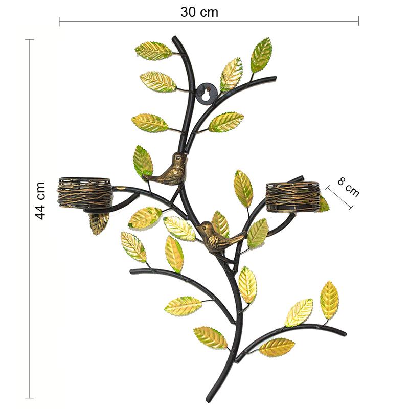 Tree with Bird Nest Votive Stand Blue