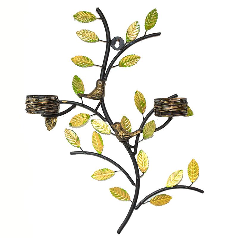 Tree with Bird Nest Votive Stand Green