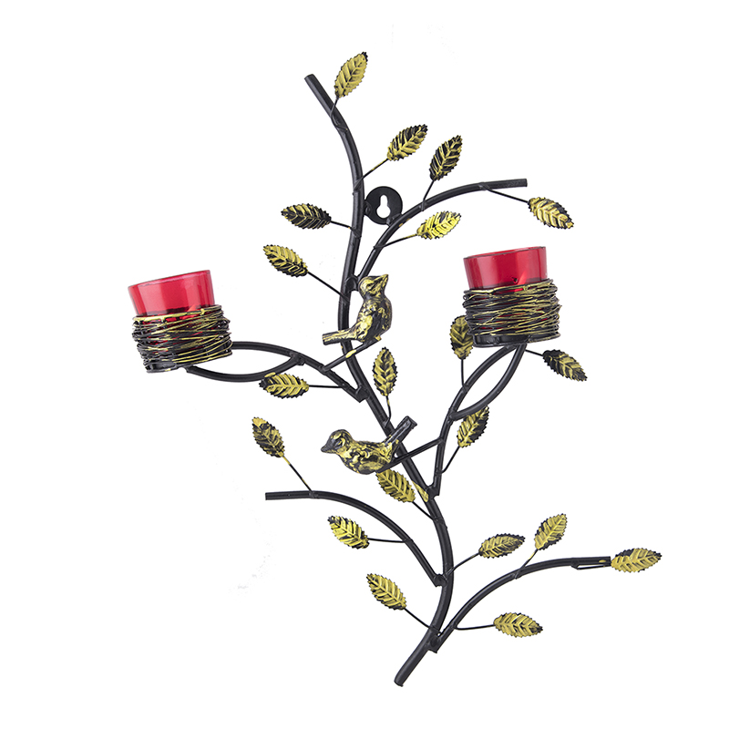 Tree with Bird Nest Votive Stand Red, Wall Candle Holder and Tealight Candles