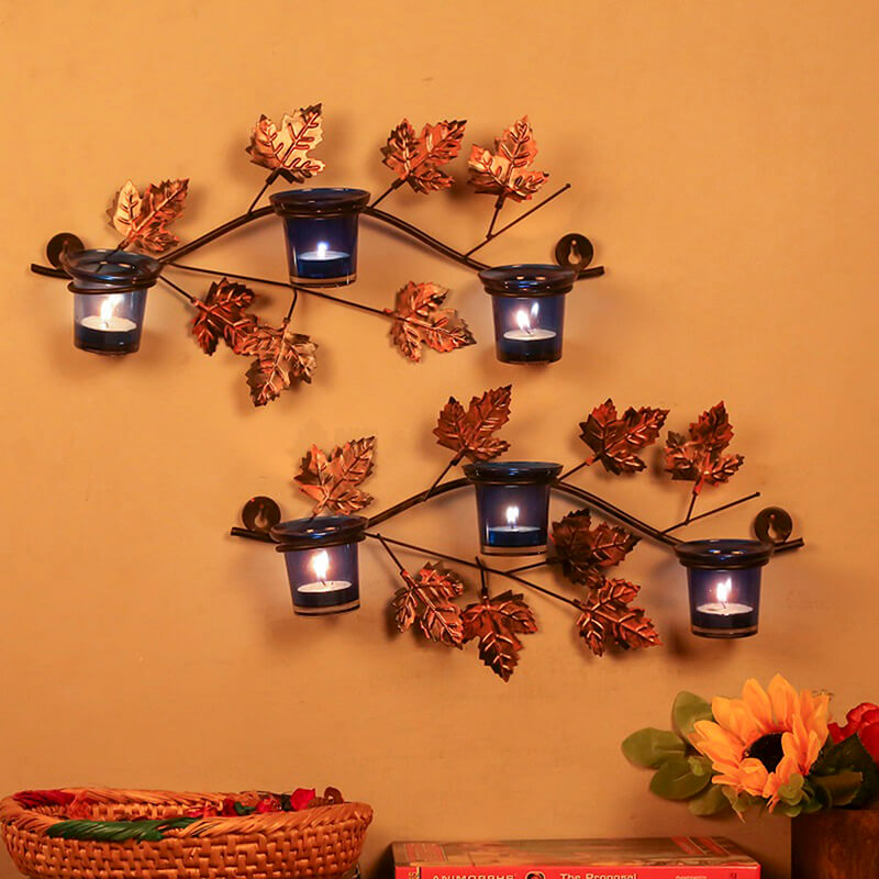 Maple Leaf Wall Mount with 3 Votive Blue