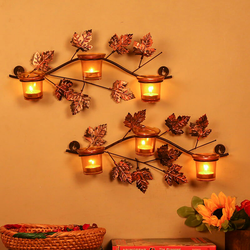 Maple Leaf Wall Mount with 3 Votive Yellow