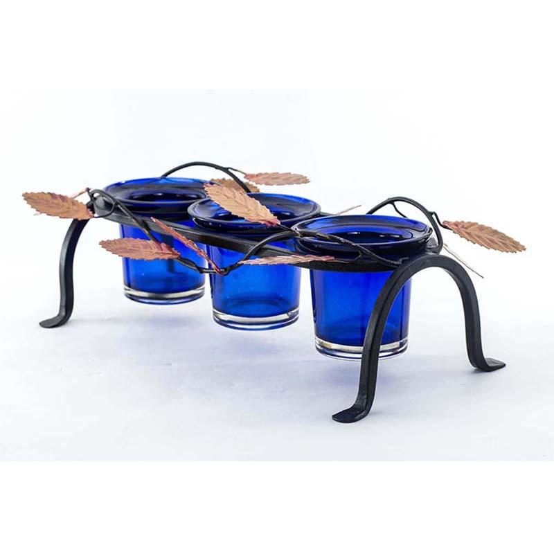 Leafy Votive Stand (3 Votive) Blue