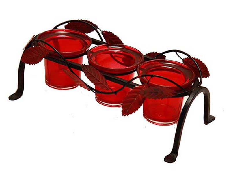 Leafy Votive Stand (3 Votive) Red