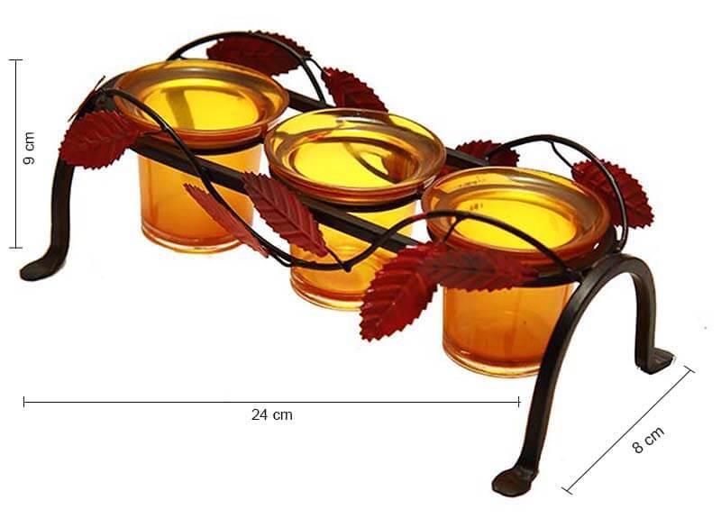 Leafy Votive Stand (3 Votive) Yellow