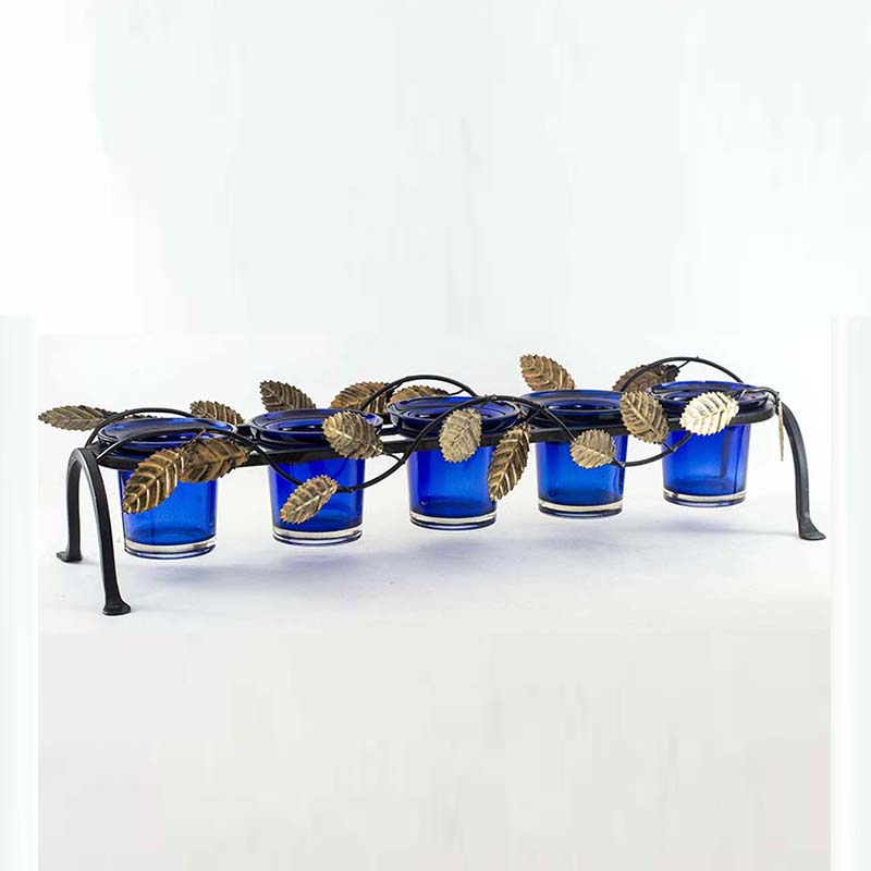 Leafy Votive Stand (5 Votive) Blue