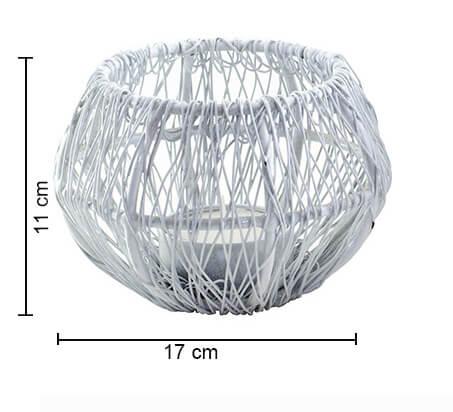 Wire Tangle Small Votive White