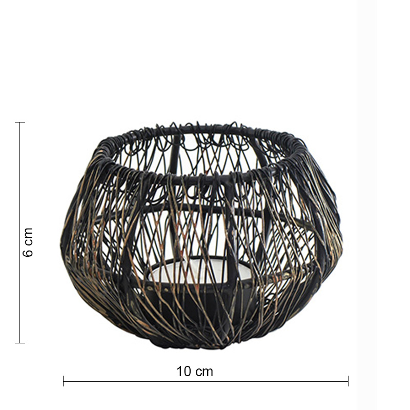 Wire Tangle Small Votive Black