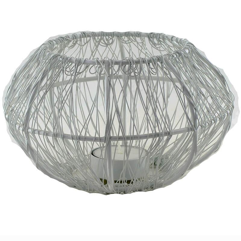 Wire Tangle Large Votive White