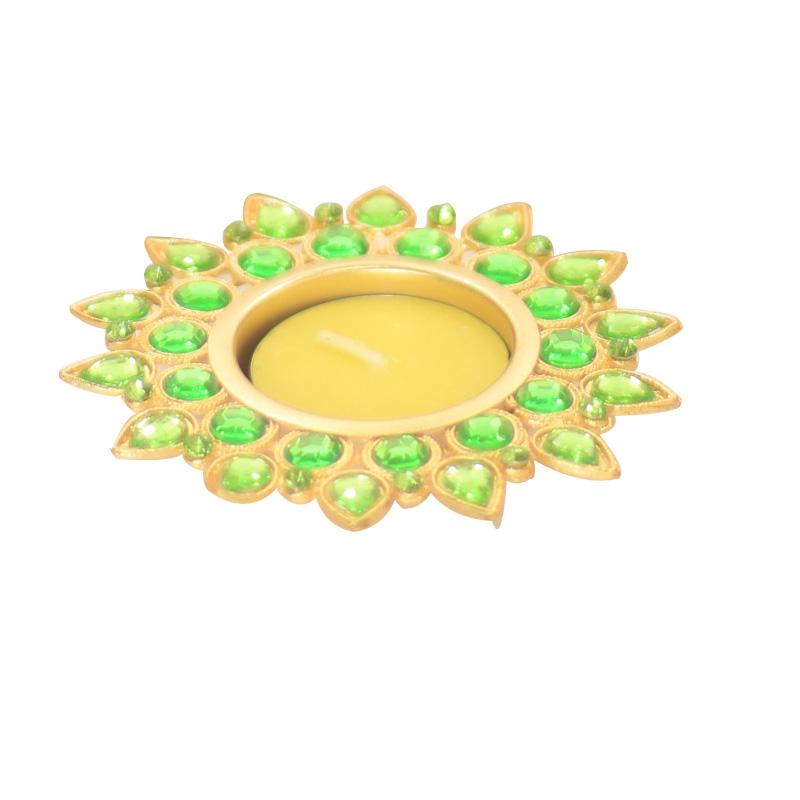 Sea-Green Crystal Diya with T-Light- Set of Four