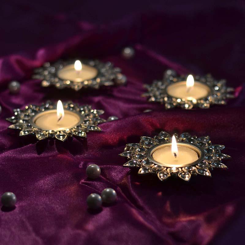 Smoky Crystal Diya with T-Light- Set of Four Silver Plates