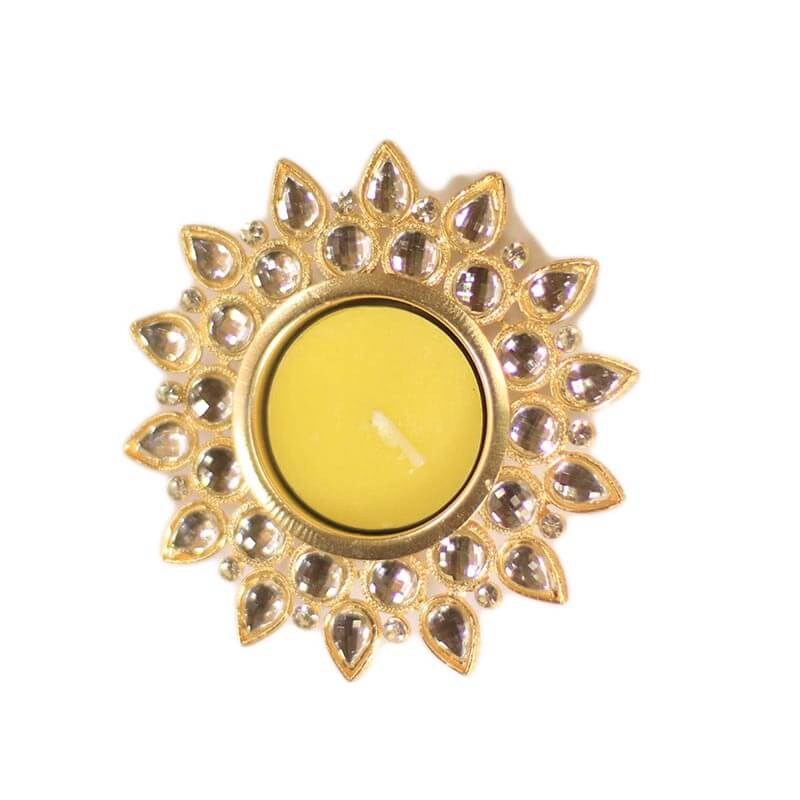 Smoky Crystal Diya with T-Light- Set of Four Gold Plates