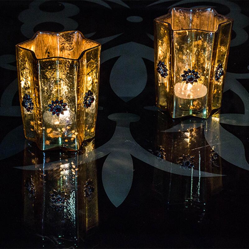 Silver Star Glass Votive-Large (Set of 2) Gold