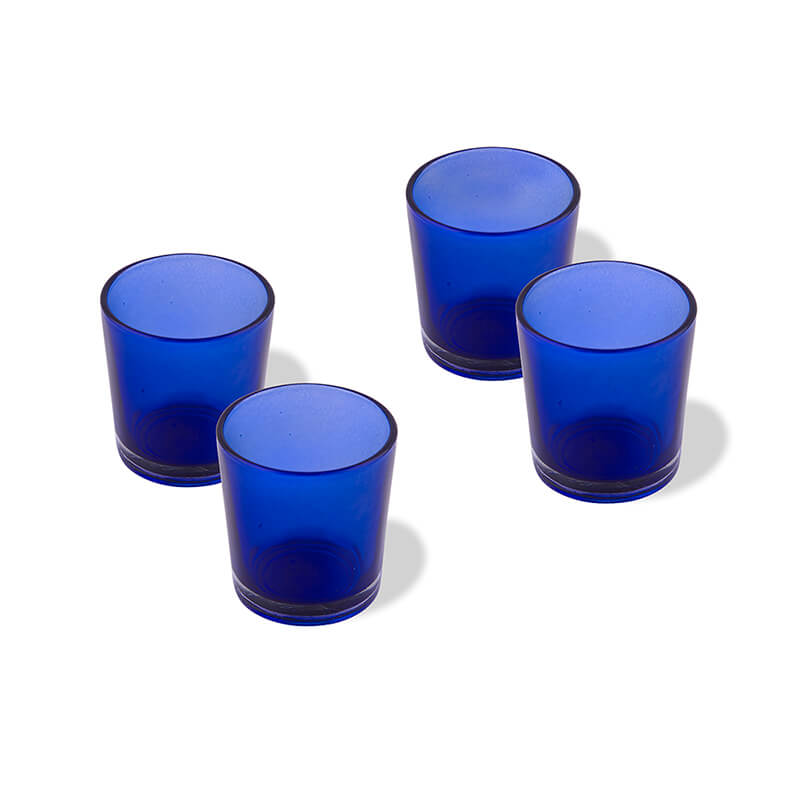 Glossy Votive Set (4 Pieces) Blue Glass Candle Holder, with T-Lights