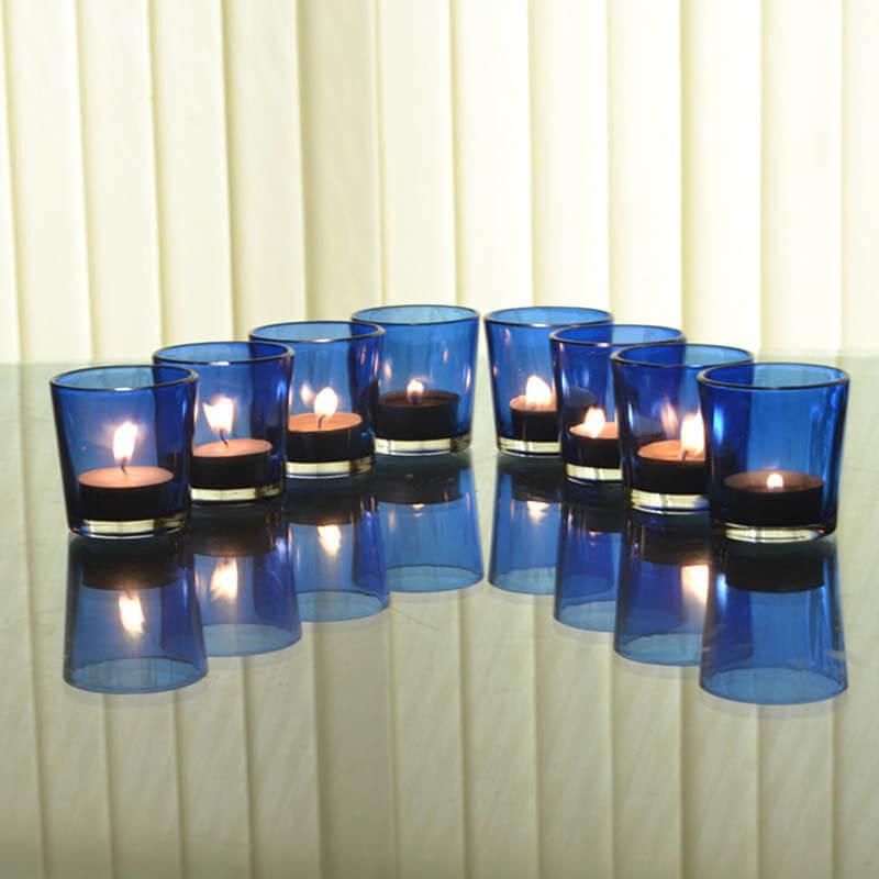 Glossy Votive Set (8 Pcs) Blue