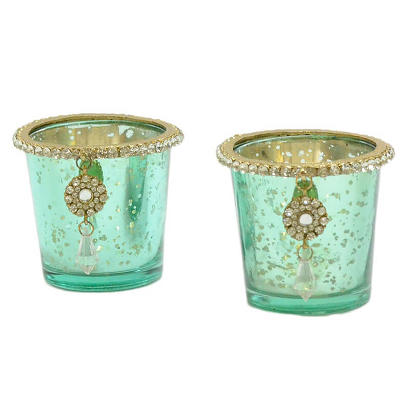 Silver Glass Votive with Jewel Ring and Dangler Turquoise