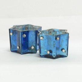Silver Star Glass Votive-Small (Set of 2) Blue