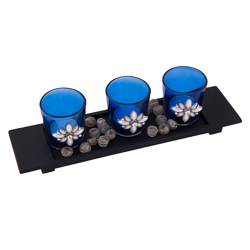 Pearl Votive with Wood Tray Blue