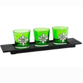 Pearl Votive with Wood Tray Green