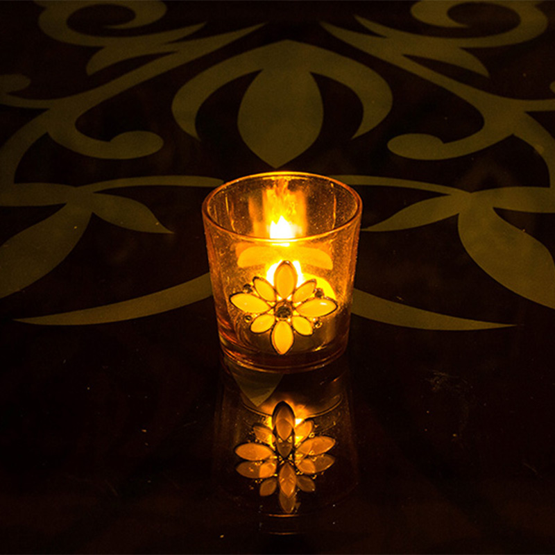 Pearl Votive with Wood Tray Gold
