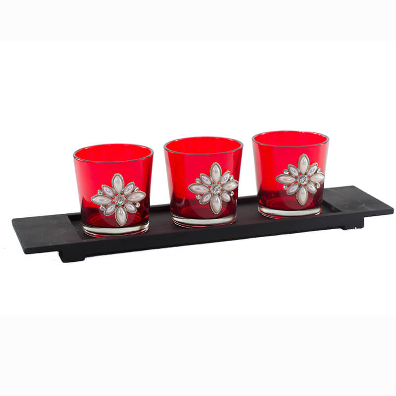 Pearl Votive with Wood Tray Red