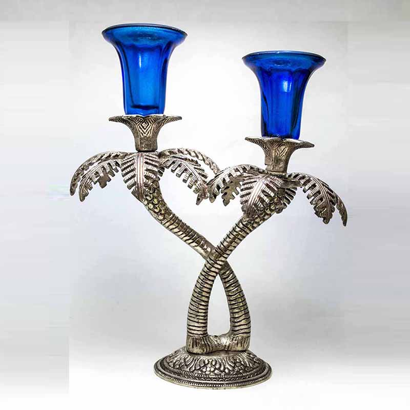 Double Palm-Tree Candle Stand with Hand Carving Blue