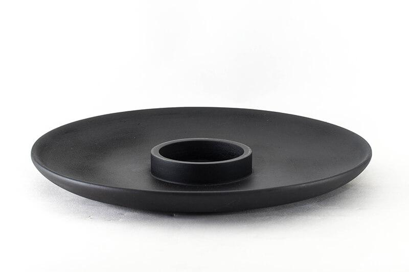 """Wood Chip-N-Dip Black With White Dip-Bowl 10"""""""