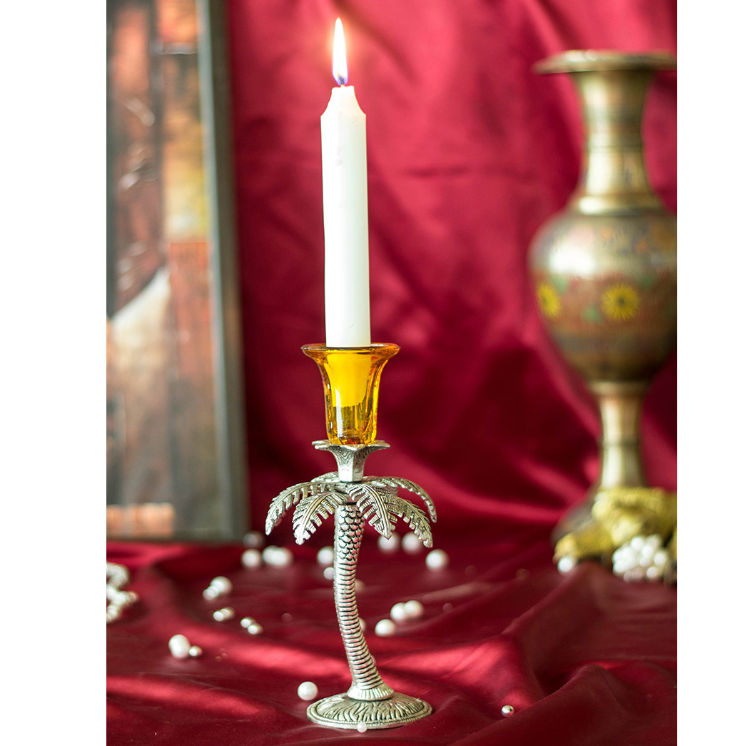 Single Palm Candle Stand with Hand carving- Yellow
